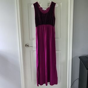 Can't Wait maternity dress, purple with black lace